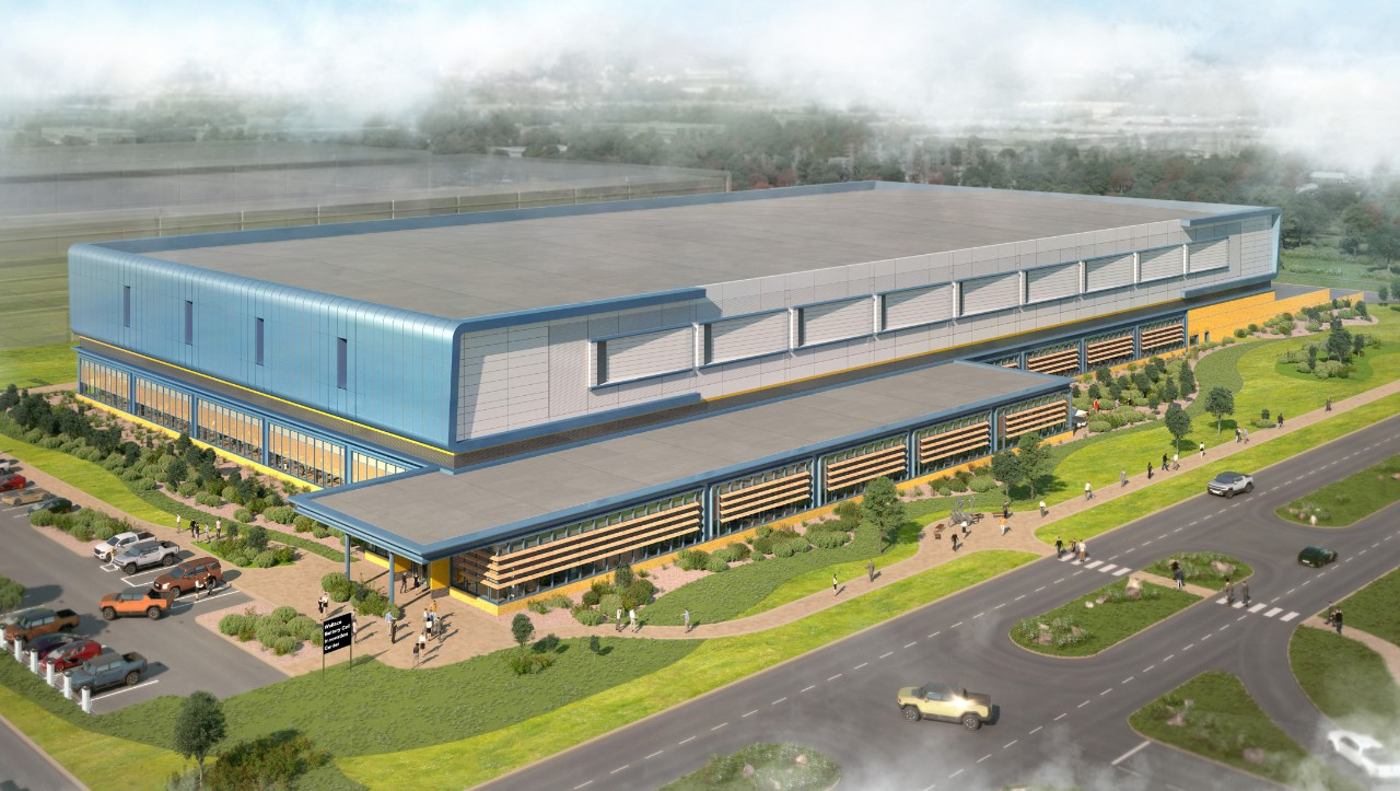 Architectural rendering of the completed first phase of GM's W